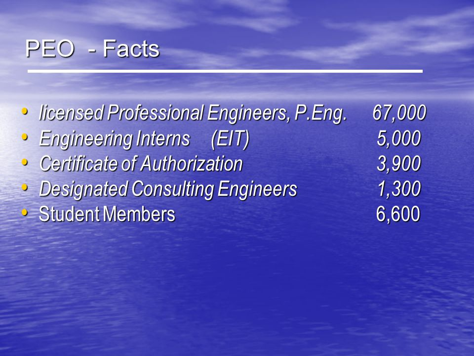PEO - Facts licensed Professional Engineers, P.Eng. 67,000