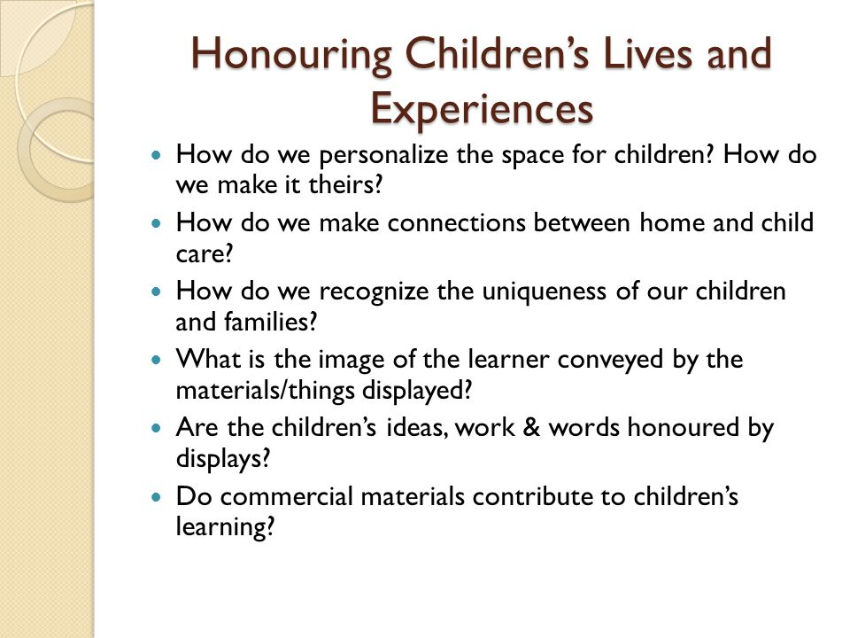 Honouring Children's Lives and Experiences