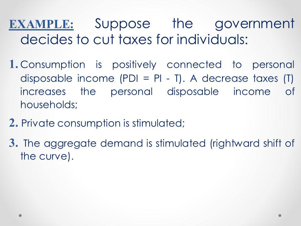 EXAMPLE: Suppose the government decides to cut taxes for individuals: