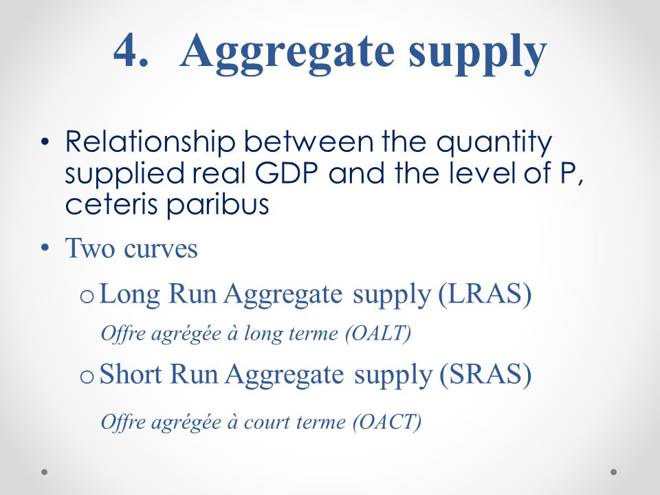 Aggregate supply Relationship between the quantity supplied real GDP and the level of P, ceteris paribus.