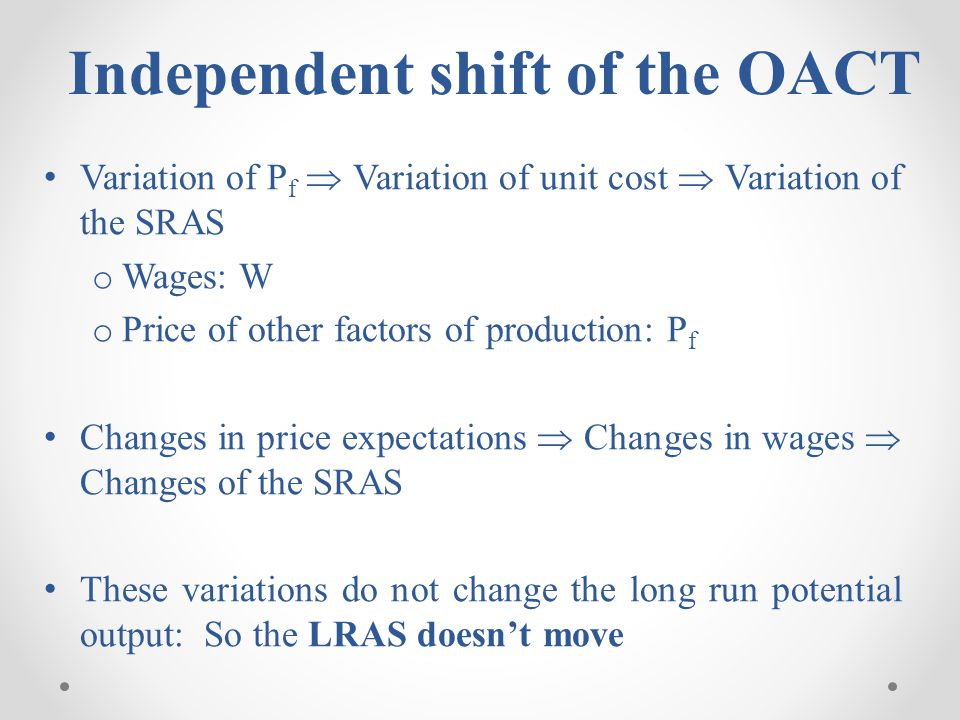 Independent shift of the OACT