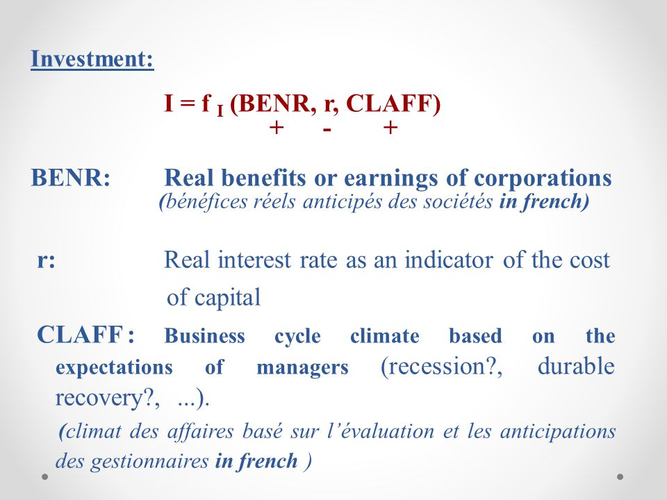 BENR: Real benefits or earnings of corporations