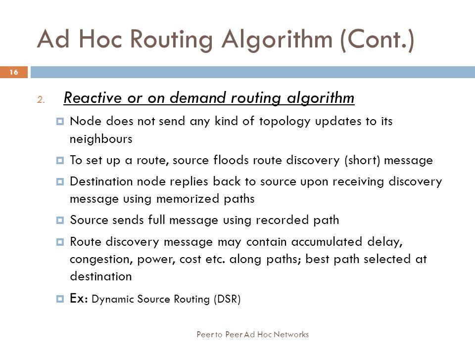 Ad Hoc Routing Algorithm (Cont.)