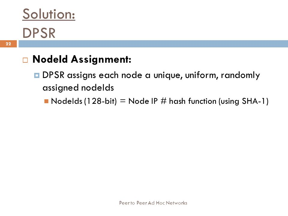 Solution: DPSR NodeId Assignment: