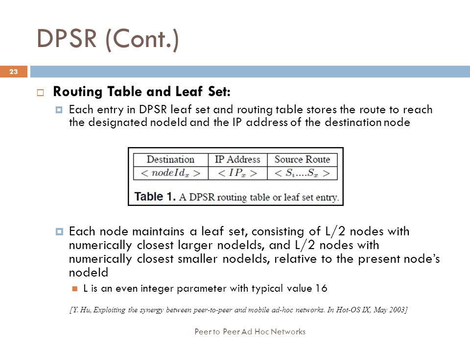 DPSR (Cont.) Routing Table and Leaf Set: