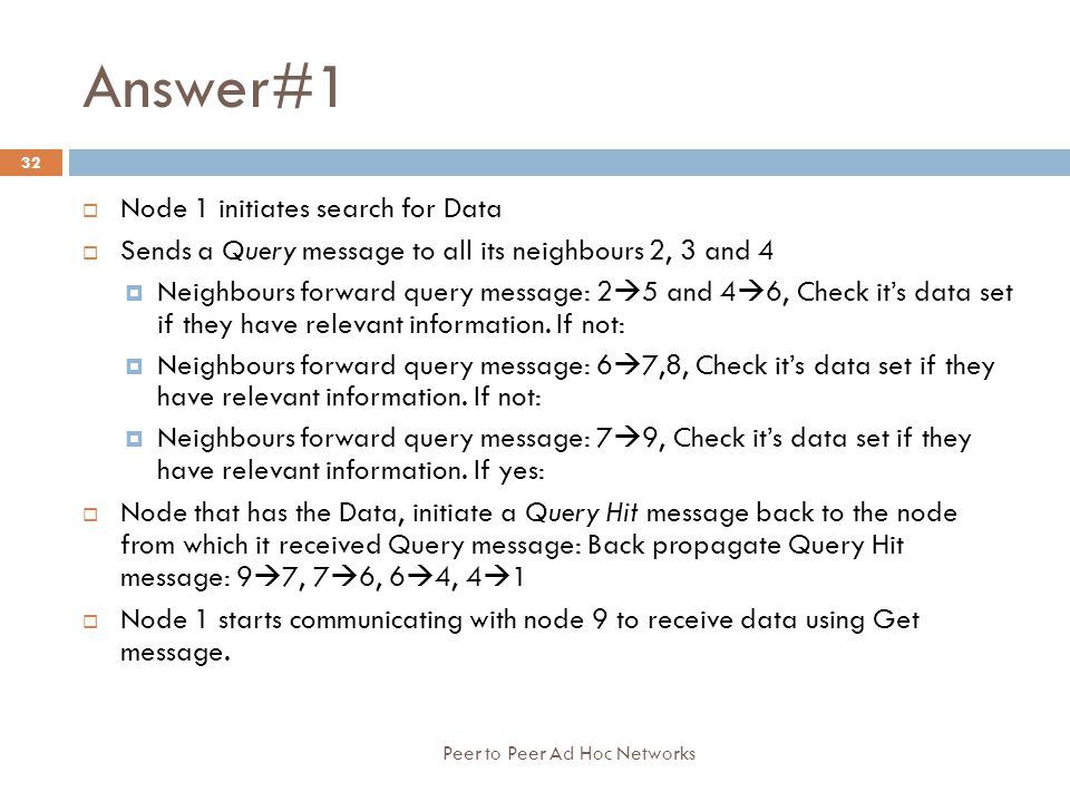 Answer#1 Node 1 initiates search for Data