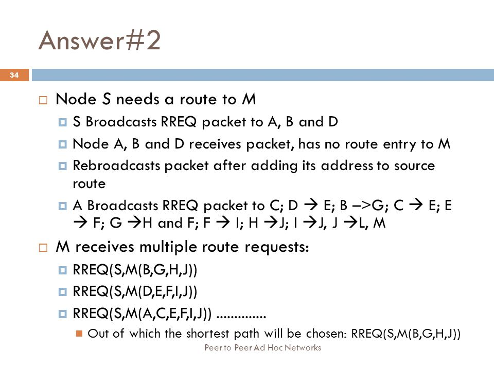 Answer#2 Node S needs a route to M M receives multiple route requests: