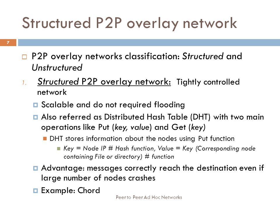 Structured P2P overlay network