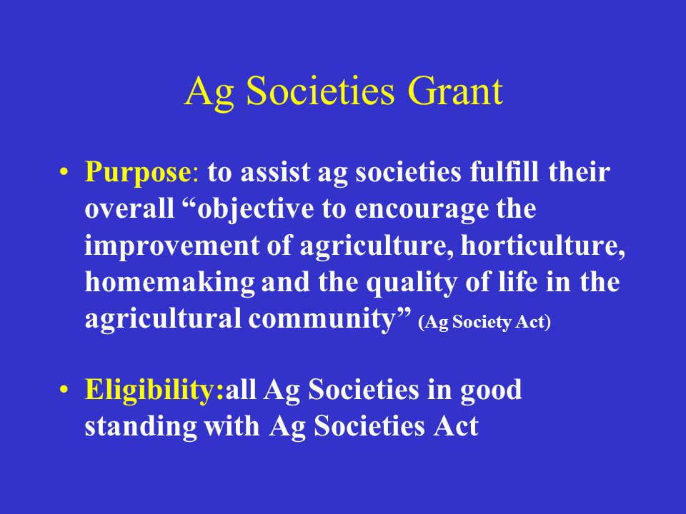 Ag Societies Grant