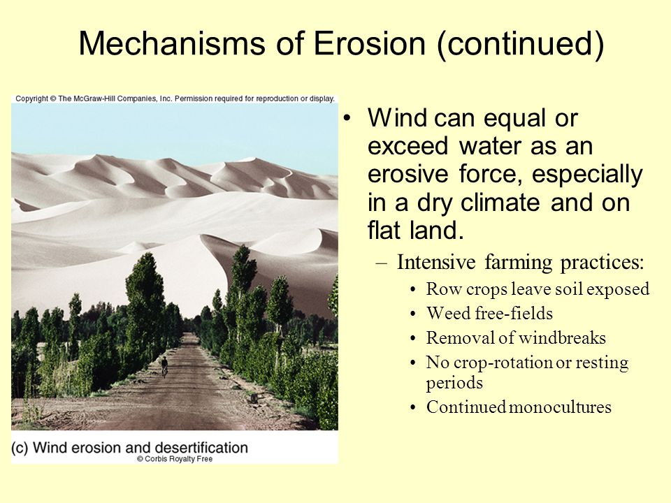 Mechanisms of Erosion (continued)
