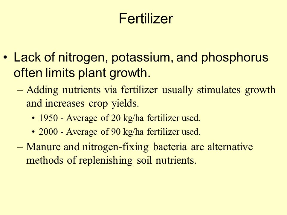 Fertilizer Lack of nitrogen, potassium, and phosphorus often limits plant growth.