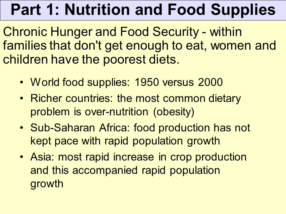 Part 1: Nutrition and Food Supplies
