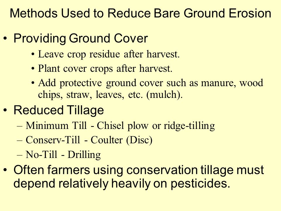 Methods Used to Reduce Bare Ground Erosion