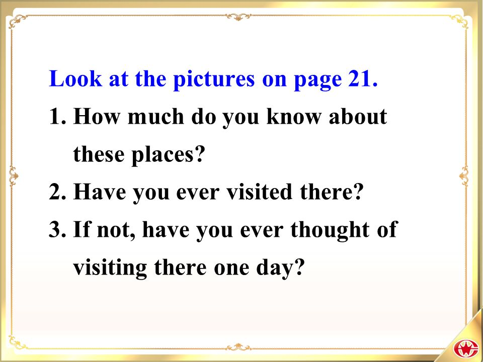 Look at the pictures on page 21.