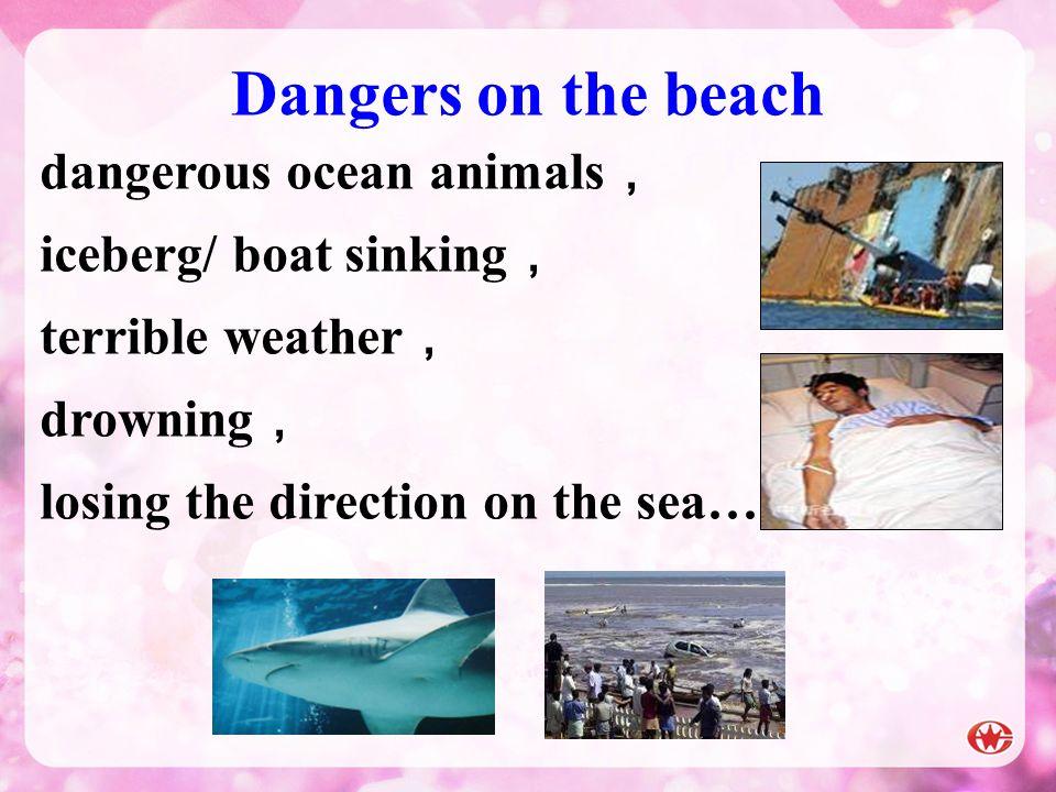 Dangers on the beach dangerous ocean animals, iceberg/ boat sinking,