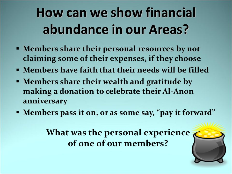 How can we show financial abundance in our Areas