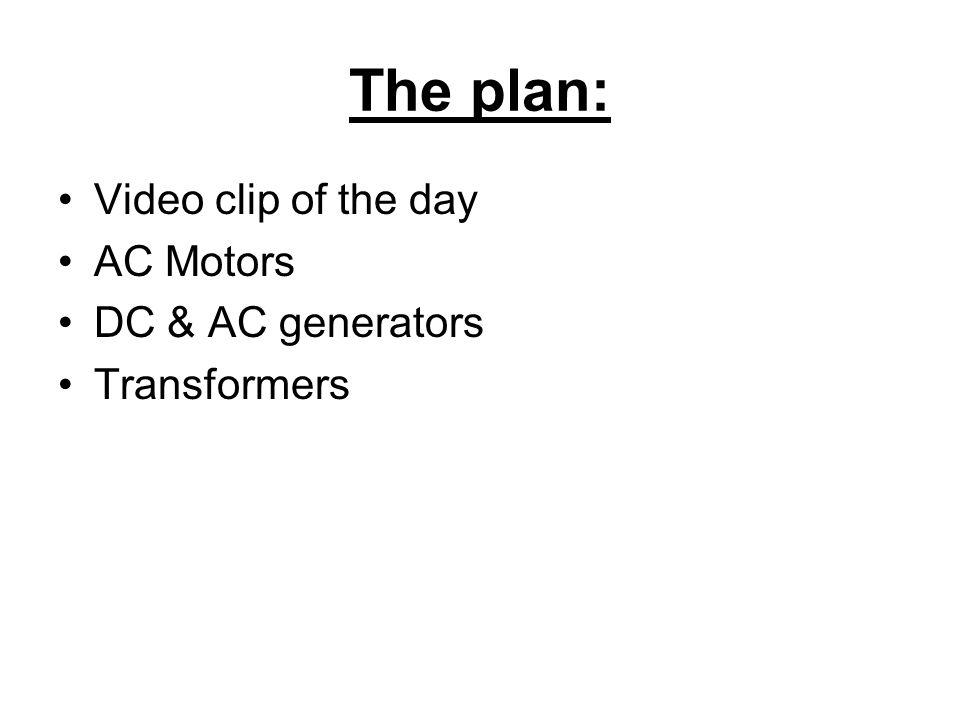 The plan: Video clip of the day AC Motors DC & AC generators