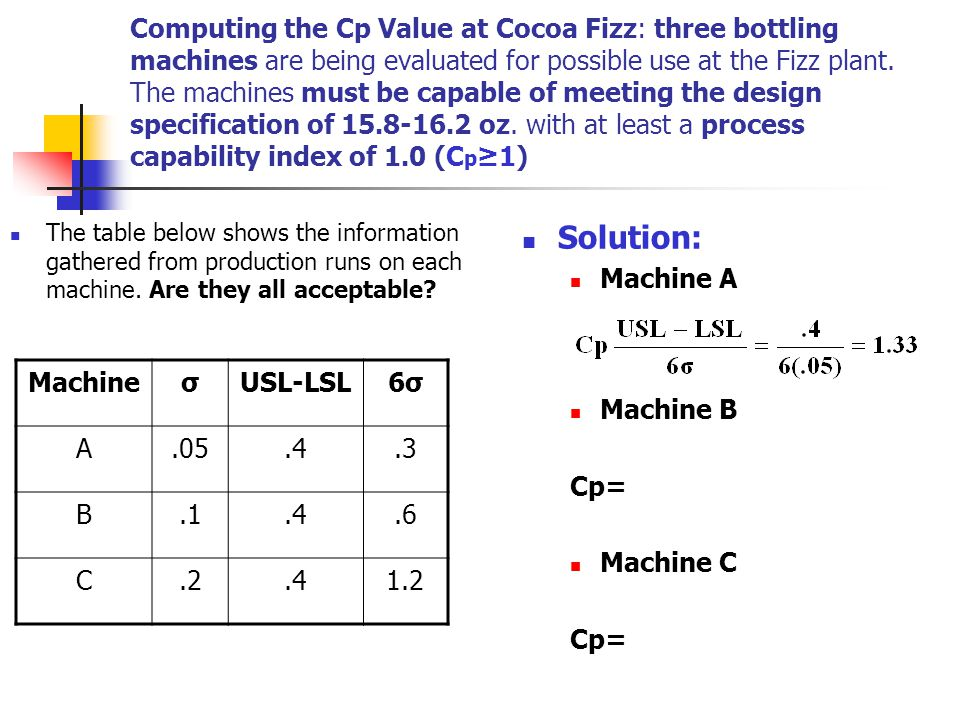 Computing the Cp Value at Cocoa Fizz: three bottling machines are being evaluated for possible use at the Fizz plant. The machines must be capable of meeting the design specification of 15.8-16.2 oz. with at least a process capability index of 1.0 (Cp≥1)