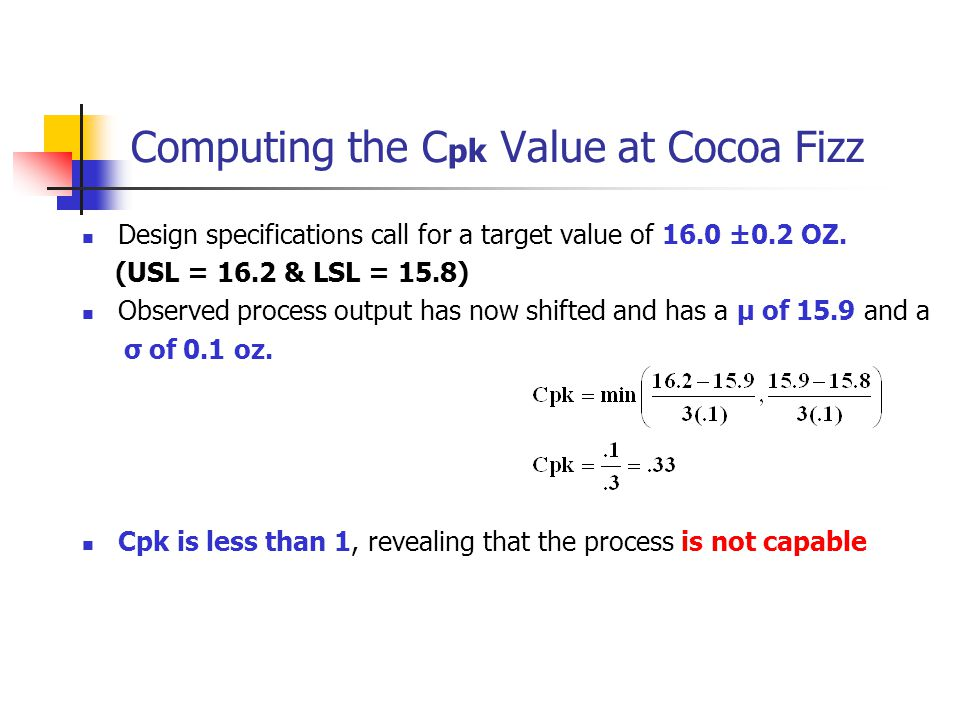Computing the Cpk Value at Cocoa Fizz