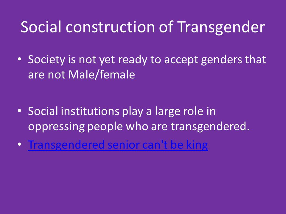 Social construction of Transgender