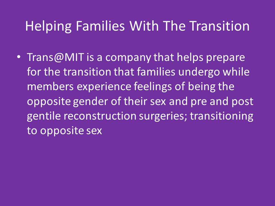 Helping Families With The Transition