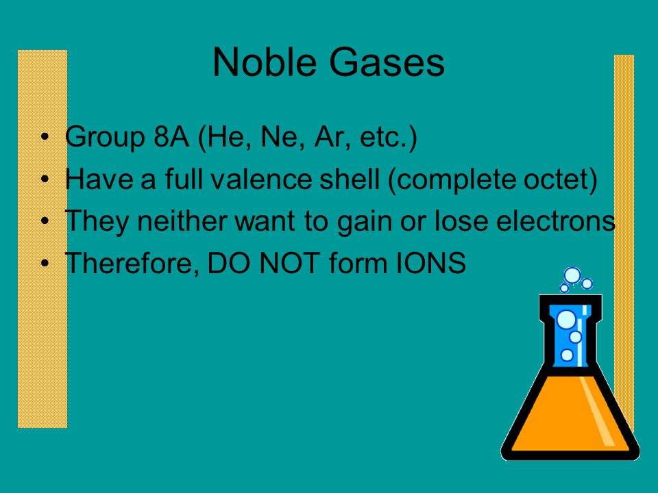 Noble Gases Group 8A (He, Ne, Ar, etc.)