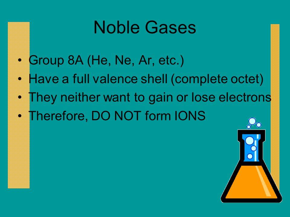 Noble Gases Group 8A (He, Ne, Ar, etc.)