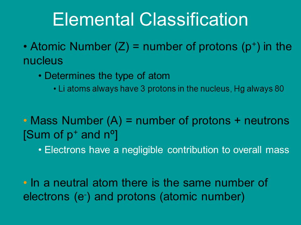 Elemental Classification