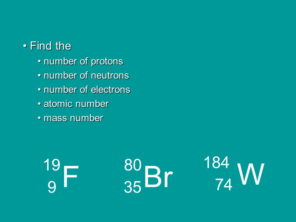 W F Br 184 74 19 9 80 35 Find the number of protons number of neutrons