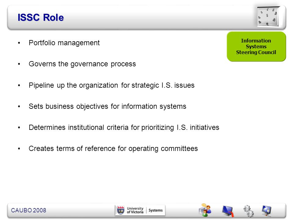 ISSC Role Portfolio management Governs the governance process
