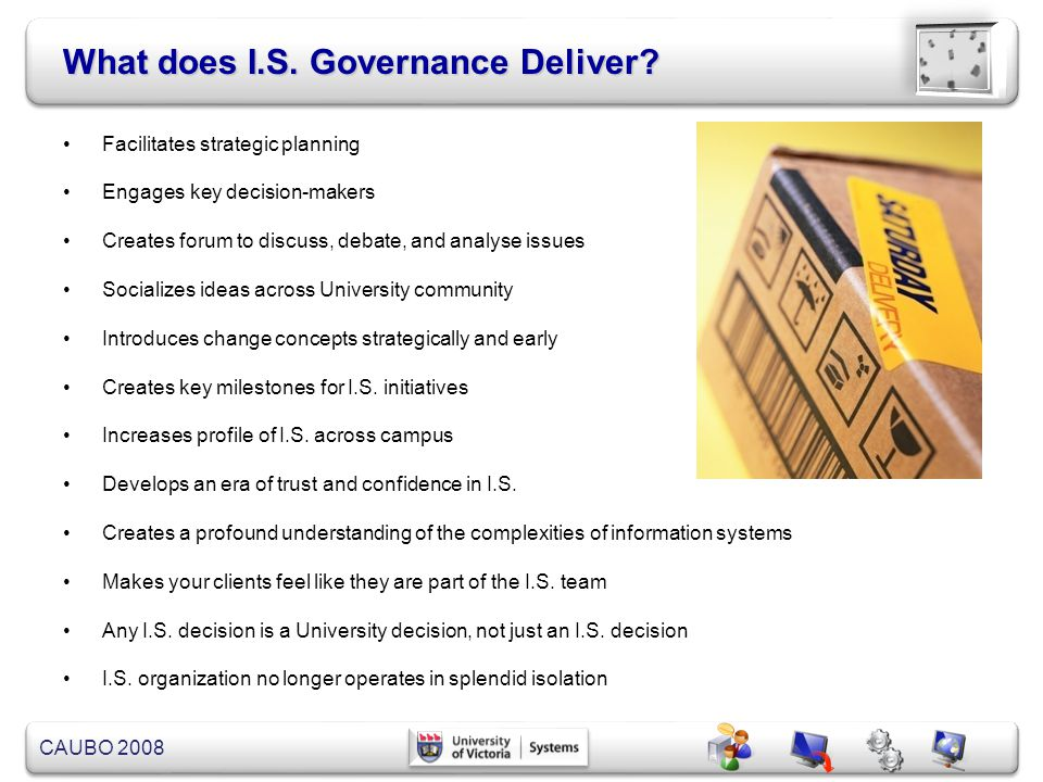 What does I.S. Governance Deliver