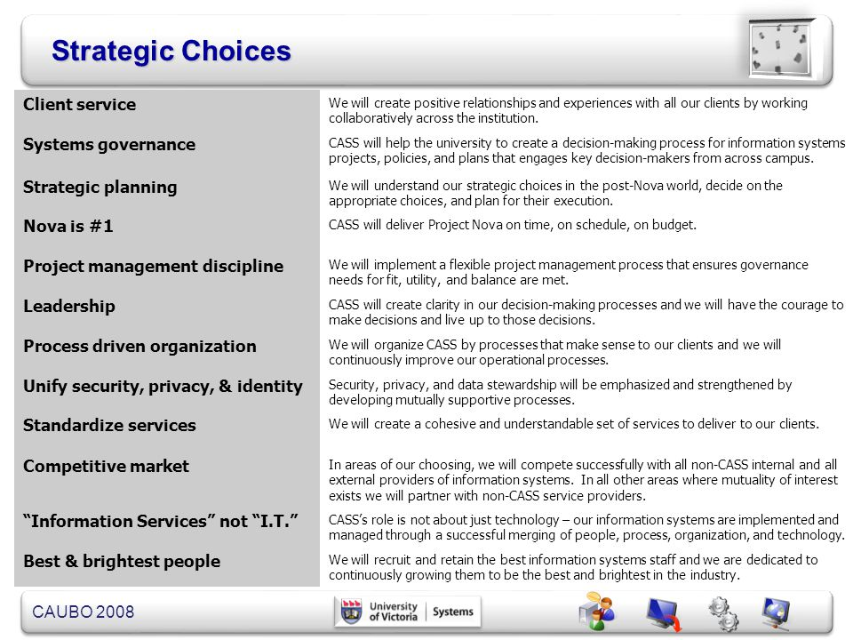 Strategic Choices Client service Systems governance Strategic planning