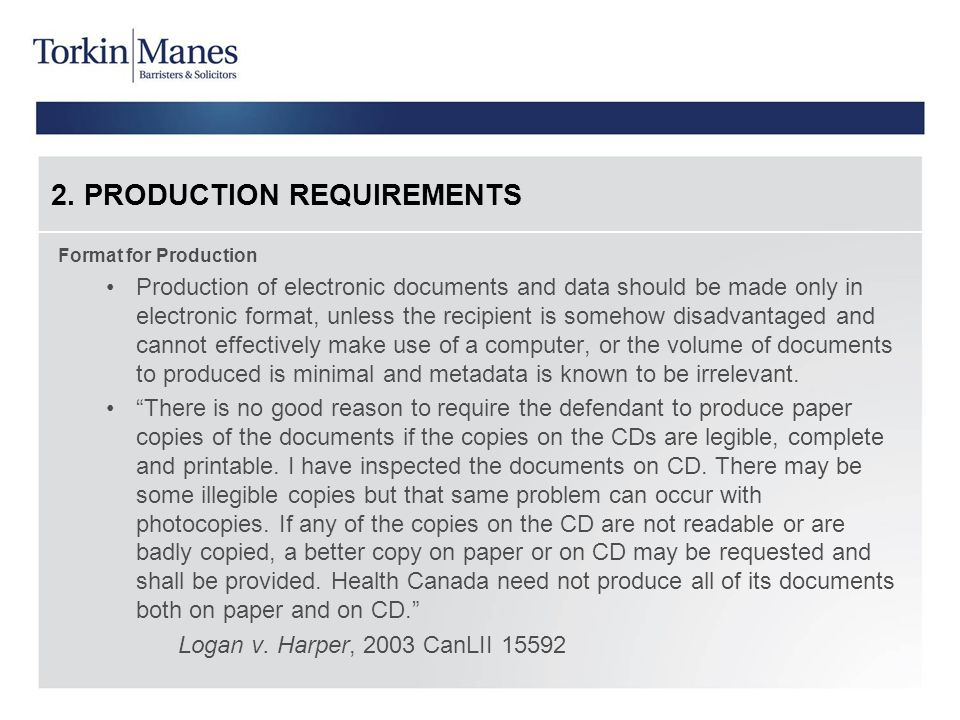 2. PRODUCTION REQUIREMENTS