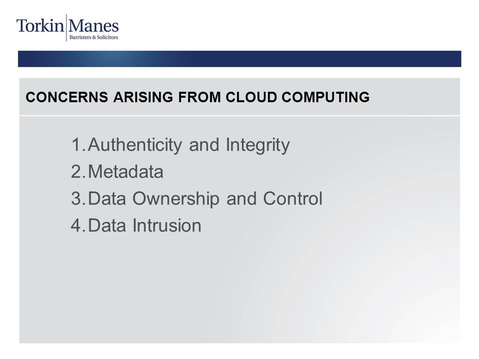 CONCERNS ARISING FROM CLOUD COMPUTING