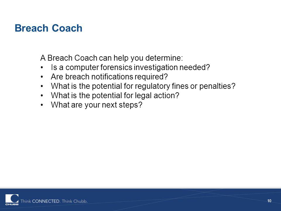 Breach Coach A Breach Coach can help you determine: