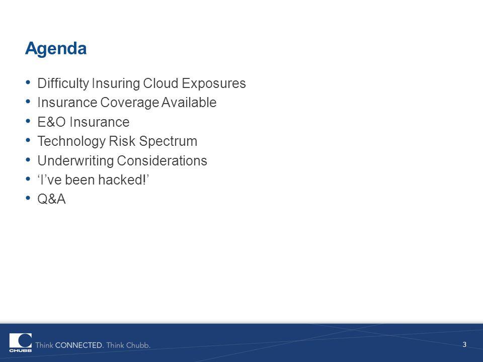 Agenda Difficulty Insuring Cloud Exposures