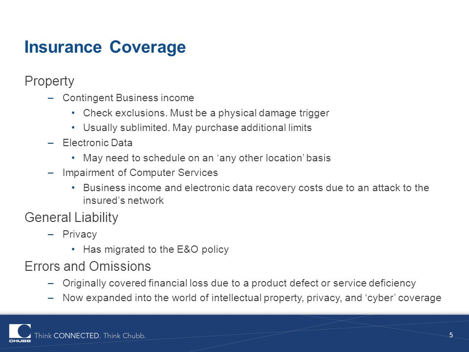 Insurance Coverage Property General Liability Errors and Omissions
