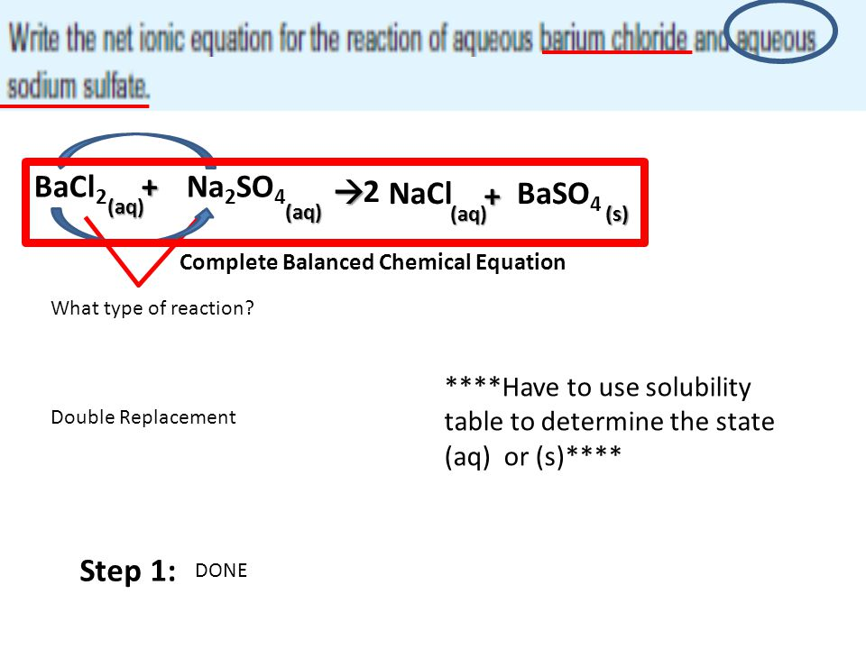 BaCl2 + Na2SO4  2 NaCl + BaSO4 (aq) (aq) (aq) (s) Step 1: