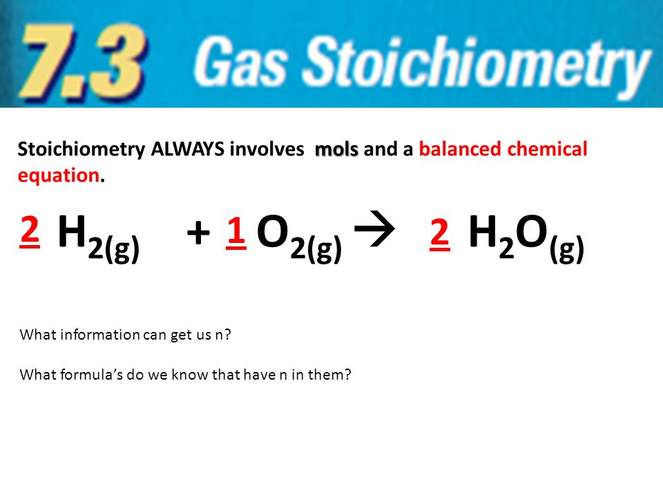 Stoichiometry ALWAYS involves mols and a balanced chemical equation.
