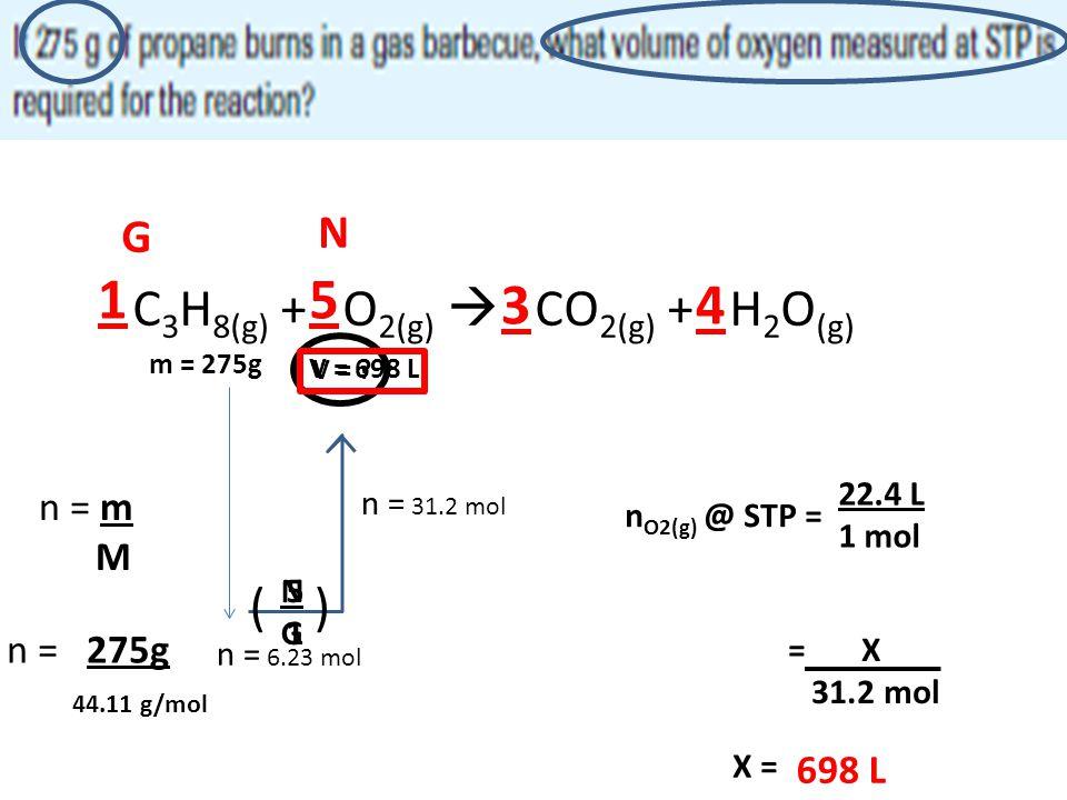 1 5 3 4 C3H8(g) + O2(g)  CO2(g) + H2O(g) ( ) N G n = m M n = 275g