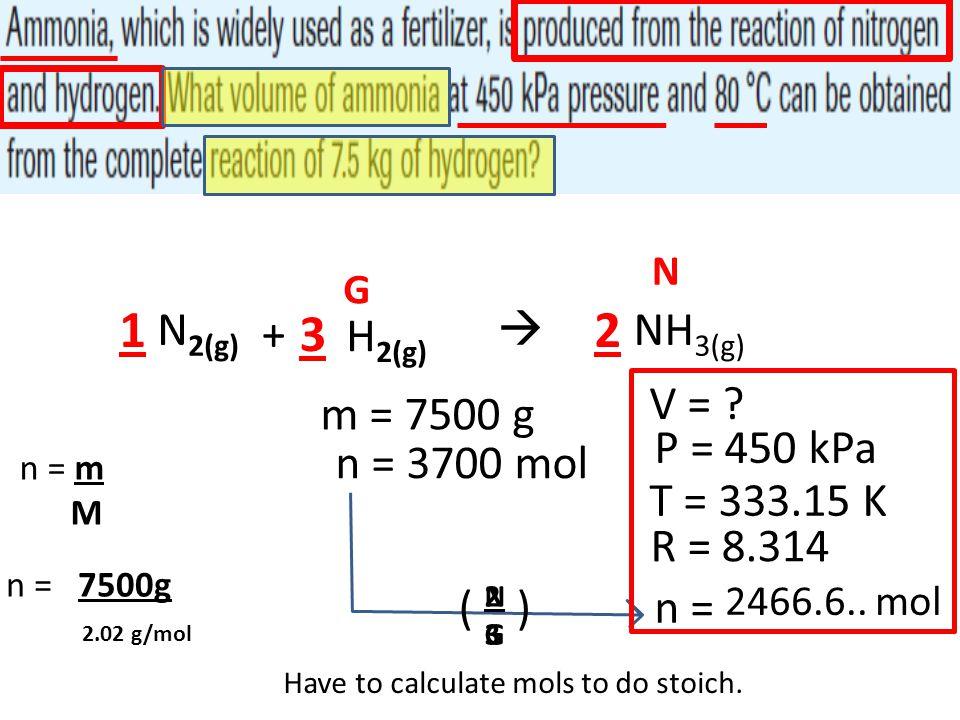 1 3 2 N2(g) +  NH3(g) H2(g) V = m = 7500 g P = 450 kPa n = 3700 mol