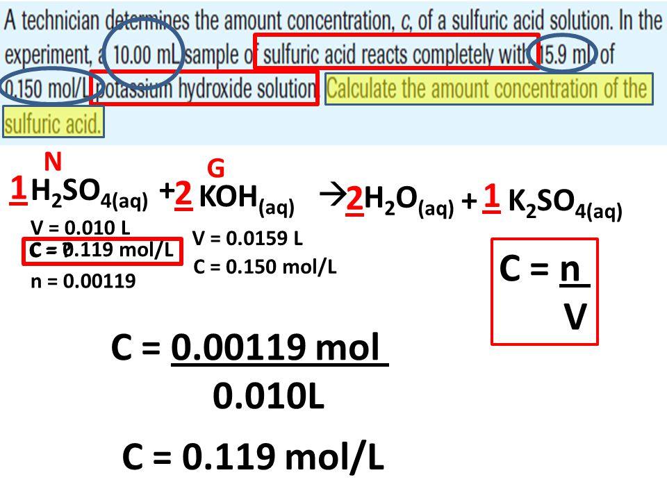 C = n V C = 0.00119 mol 0.010L C = 0.119 mol/L 1 2 1 2 H2SO4(aq) +