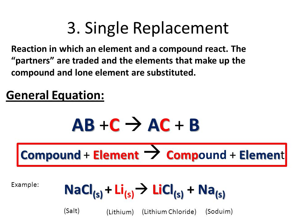 AB +C  AC + B 3. Single Replacement NaCl(s) + Li(s) LiCl(s) + Na(s)