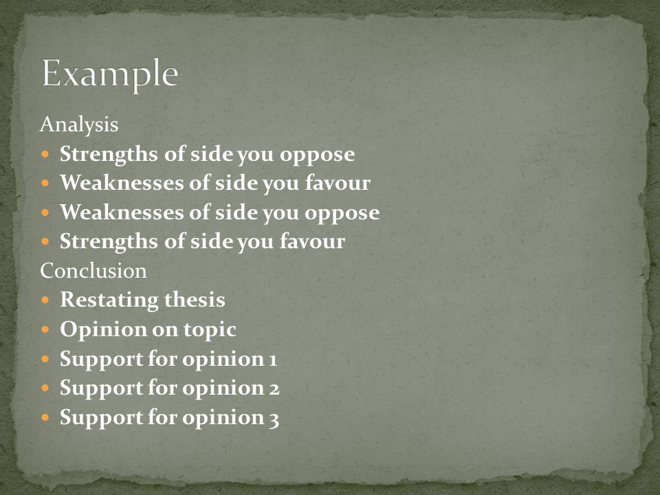 Example Analysis Strengths of side you oppose