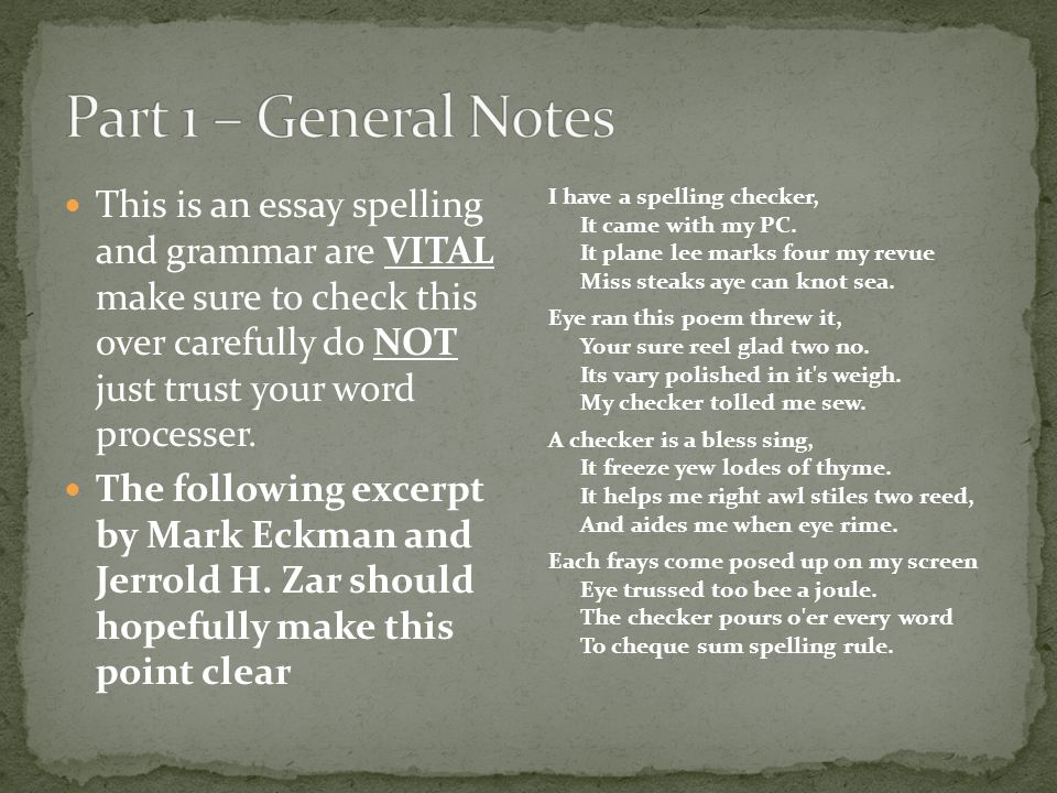 Part 1 – General Notes