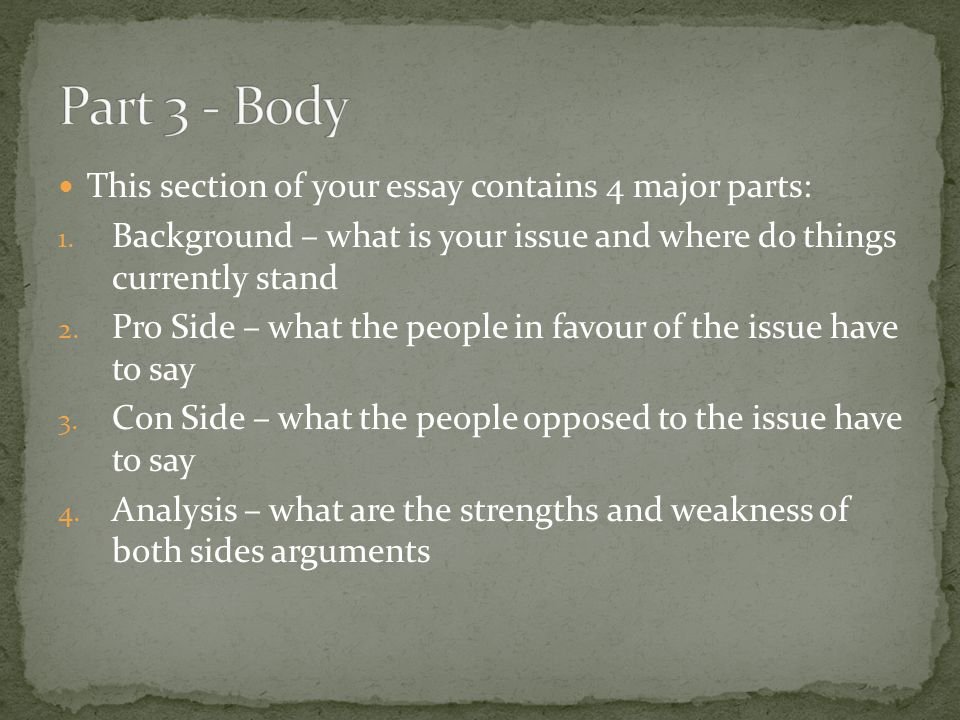 Part 3 - Body This section of your essay contains 4 major parts: