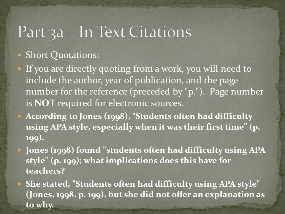 Part 3a – In Text Citations