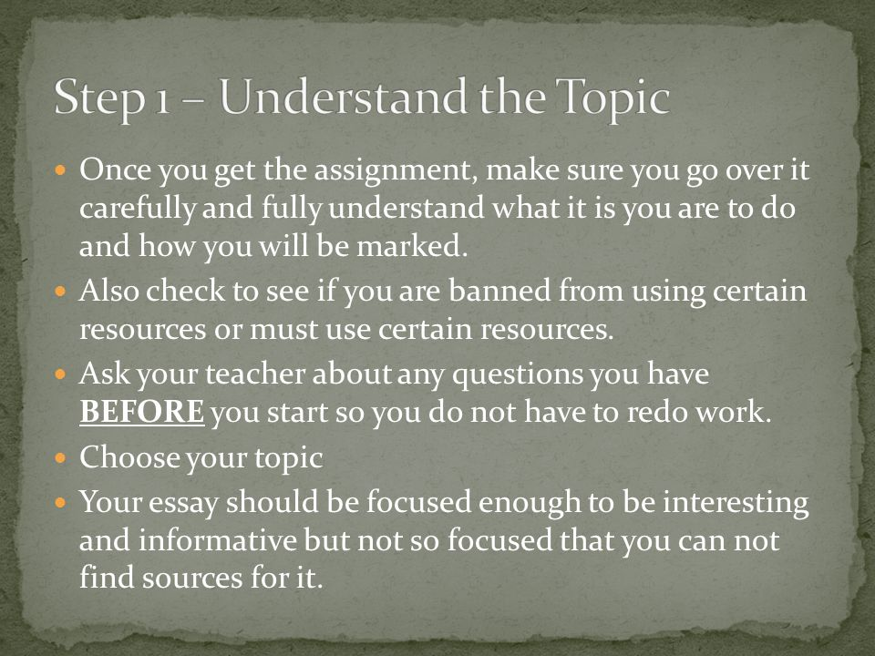 Step 1 – Understand the Topic