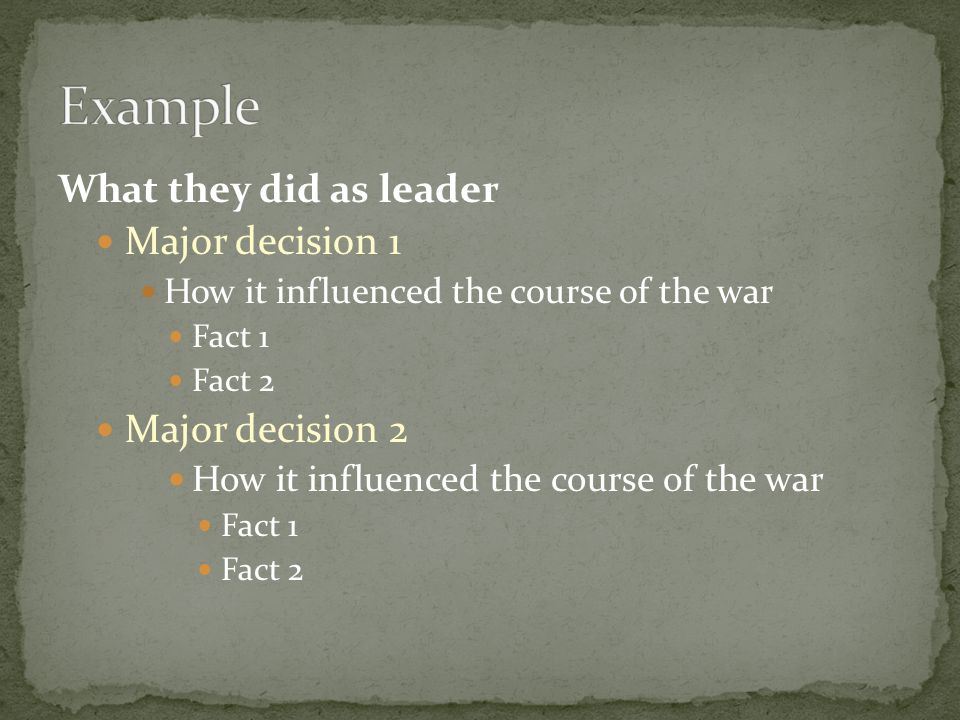 Example What they did as leader Major decision 1 Major decision 2