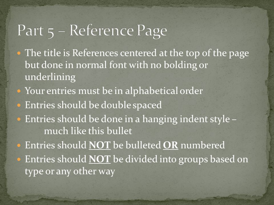 Part 5 – Reference Page The title is References centered at the top of the page but done in normal font with no bolding or underlining.